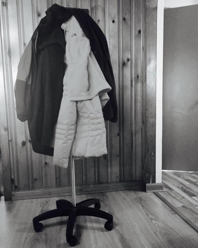 IV pole coat rack